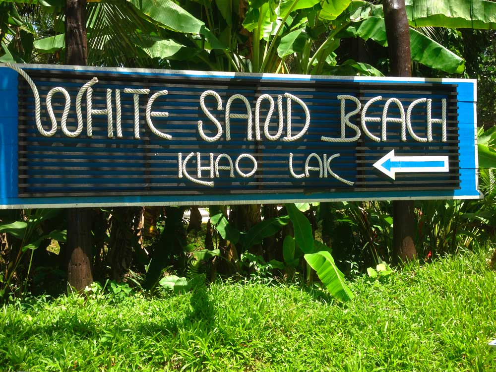 Sign to White Sand Beach
