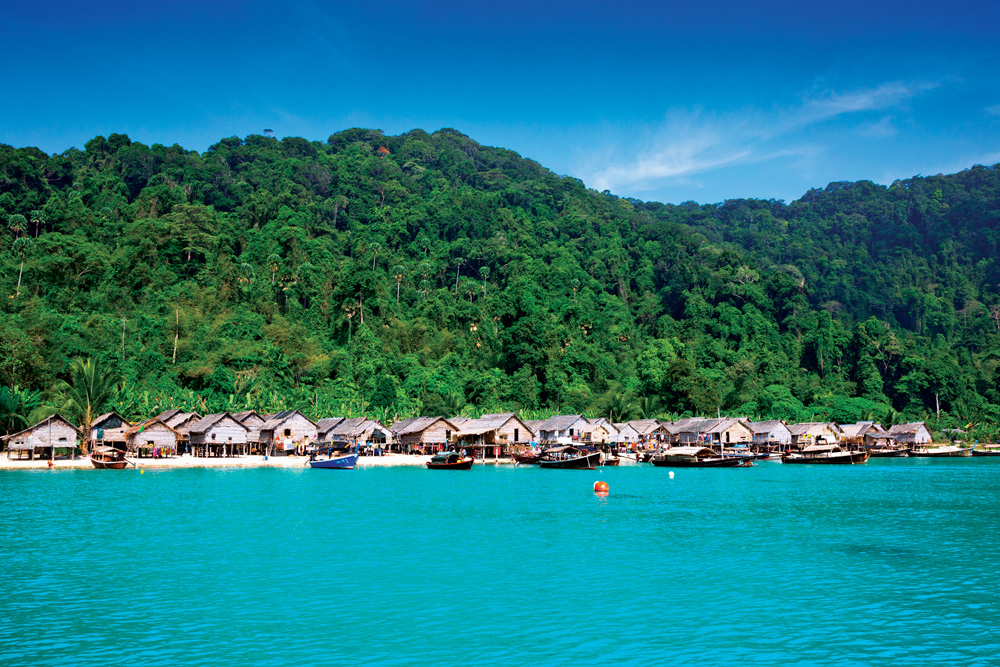Moken village at the Surin Islands