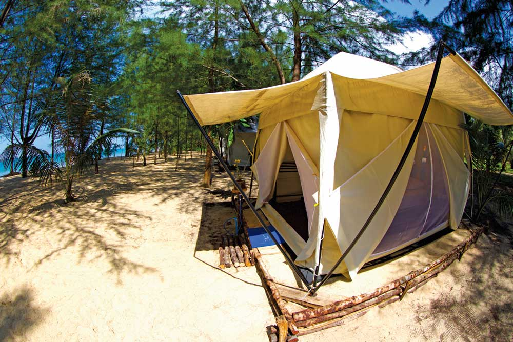 Deluxe beach front tents at the Prathong Oasis resort on Koh Phra Thong