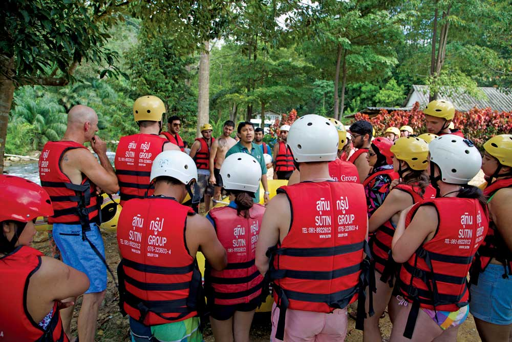 Everyone gets a safety briefing before the whitewater rafting begins